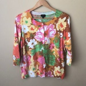 Talbots Watercolor Floral Print Cardigan